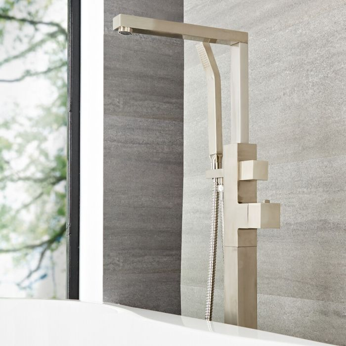Milano Arvo - Modern Freestanding Bath Shower Mixer Tap with Hand Shower - Brushed Nickel