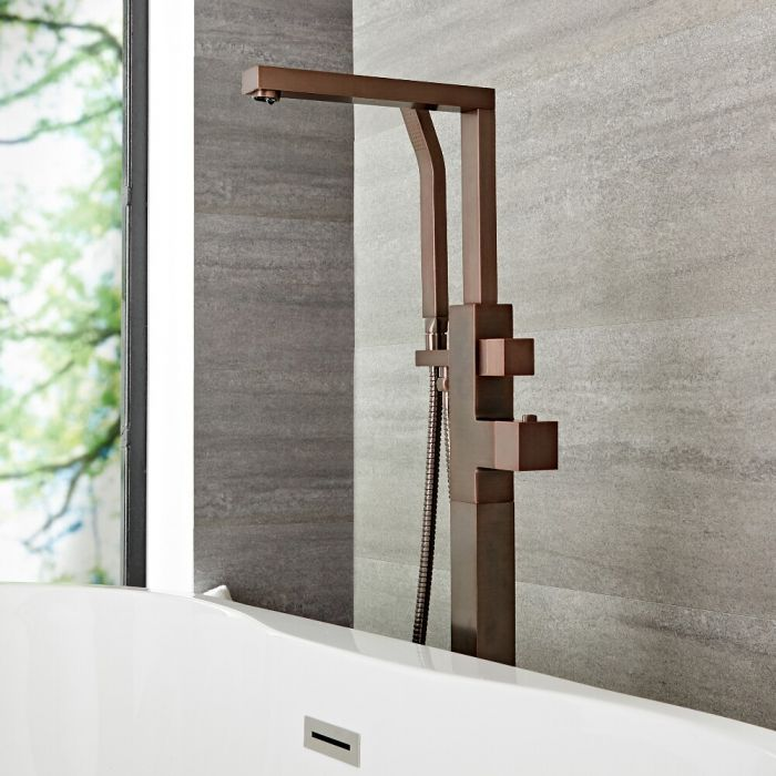 Milano Arvo - Modern Freestanding Bath Shower Mixer Tap with Hand Shower - Oil Rubbed Bronze