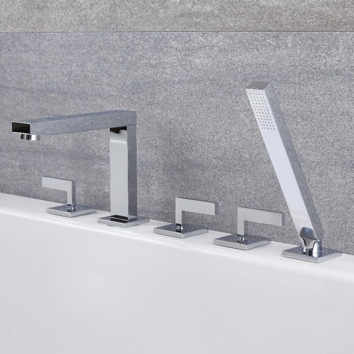 Milano Arvo - Modern Deck Mounted 5 Tap-Hole Bath Shower Mixer Tap with Hand Shower - Chrome