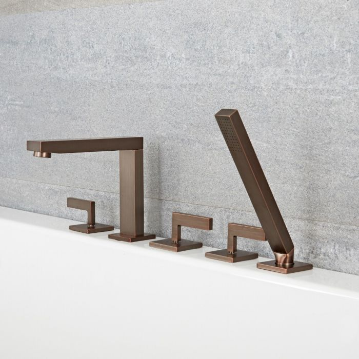 Milano Arvo - Modern Deck Mounted 5 Tap-Hole Bath Shower Mixer Tap with Hand Shower - Oil Rubbed Bronze