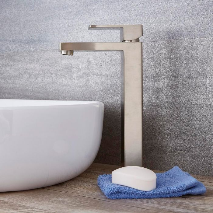 Milano Arvo - High Rise Mono Basin Mixer Tap - Brushed Nickel