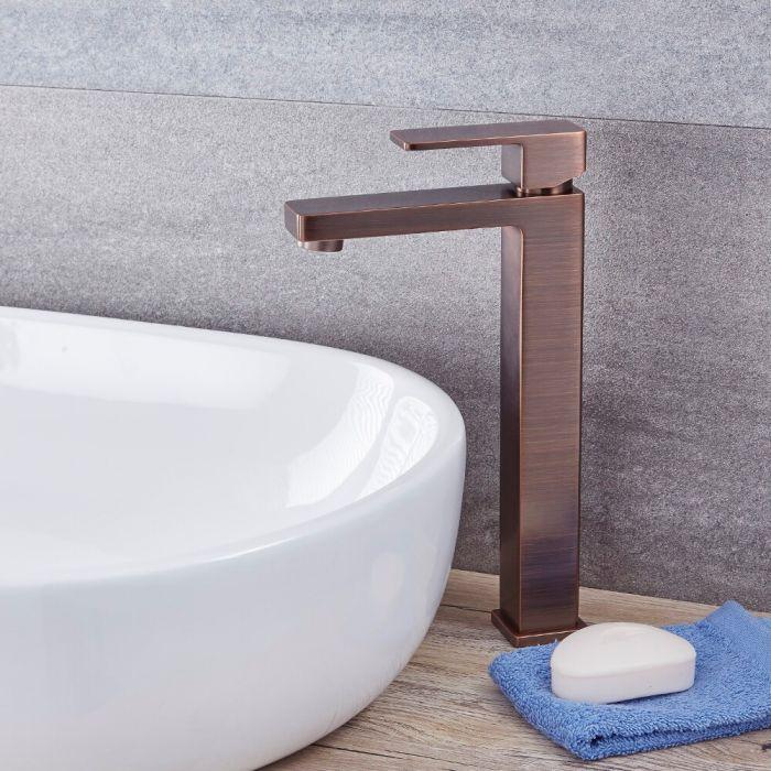 Milano Arvo - Modern High Rise Mono Basin Mixer Tap - Oil Rubbed Bronze