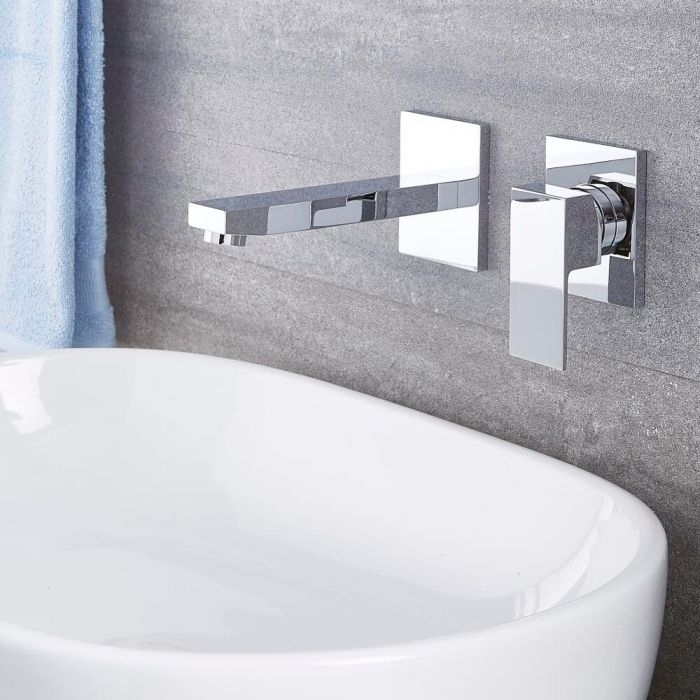 Milano Arvo - Modern Wall Mounted Basin Mixer Tap - Chrome