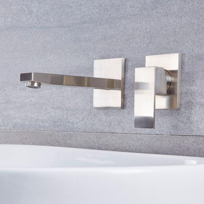 Milano Arvo - Modern Wall Mounted Basin Mixer Tap - Brushed Nickel