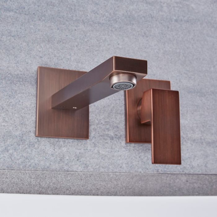 Milano Arvo - Modern Wall Mounted Basin Mixer Tap - Oil Rubbed Bronze