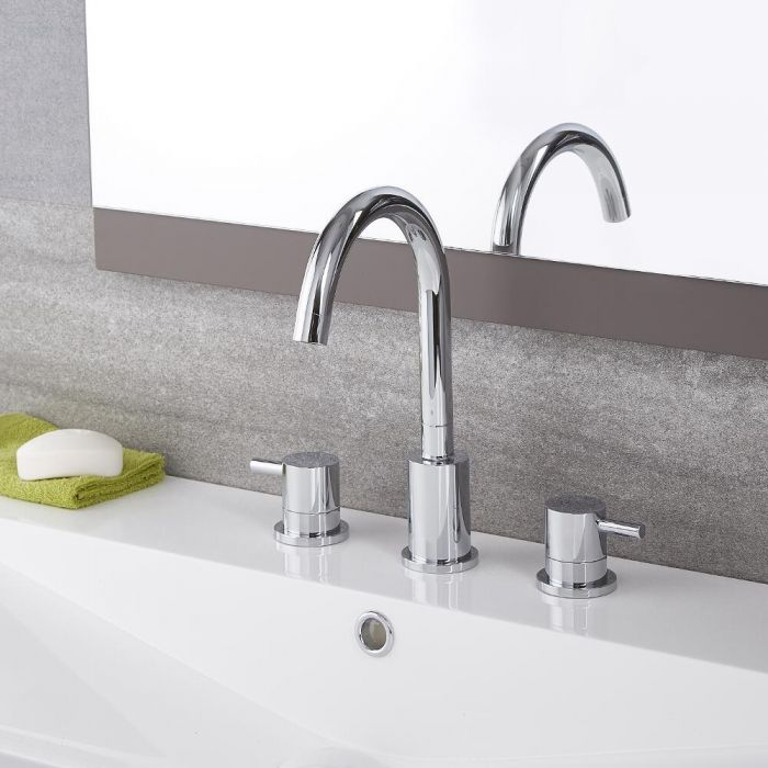 Milano Mirage - Modern 3 Tap-Hole Basin Mixer Tap - Chrome