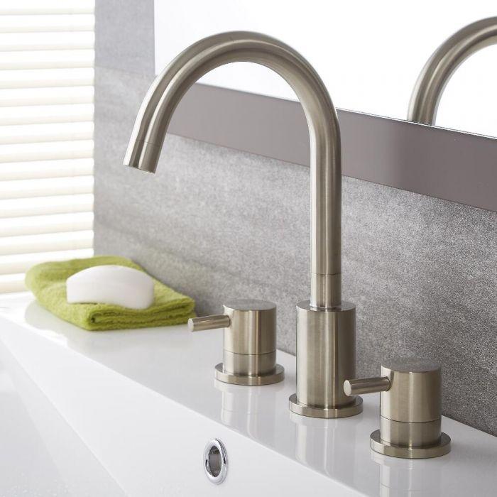 Milano Mirage - Modern 3 Tap-Hole Basin Mixer Tap - Brushed Nickel