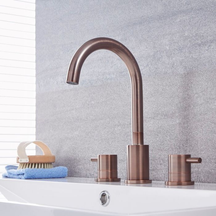 Milano Mirage - Modern 3 Tap-Hole Basin Mixer Tap - Oil Rubbed Bronze