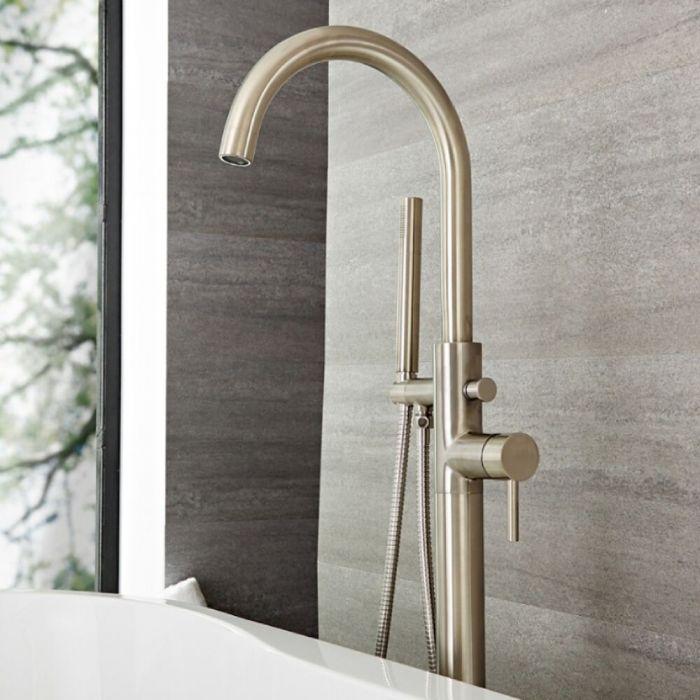 Milano Mirage - Modern Freestanding Bath Shower Mixer Tap with Hand Shower - Brushed Nickel