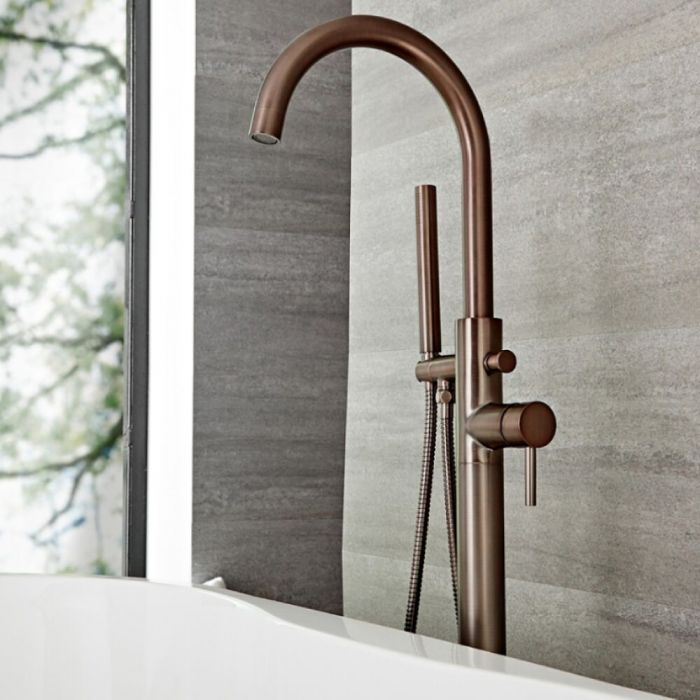 Milano Mirage - Modern Freestanding Bath Shower Mixer Tap with Hand Shower - Oil Rubbed Bronze