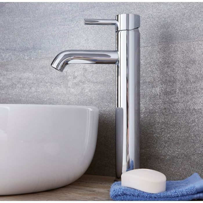 Milano Mirage - Modern High Rise Mono Basin Mixer Tap - Chrome
