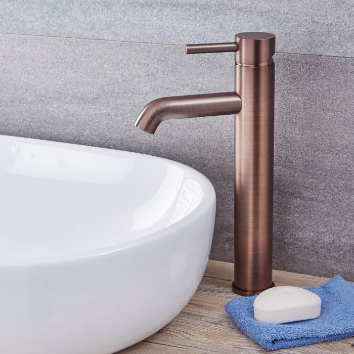 Milano Mirage - Modern High Rise Mono Basin Mixer Tap - Oil Rubbed Bronze