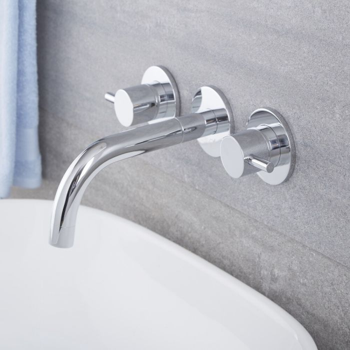 Milano Mirage - Modern Wall Mounted Basin Mixer Tap - Chrome