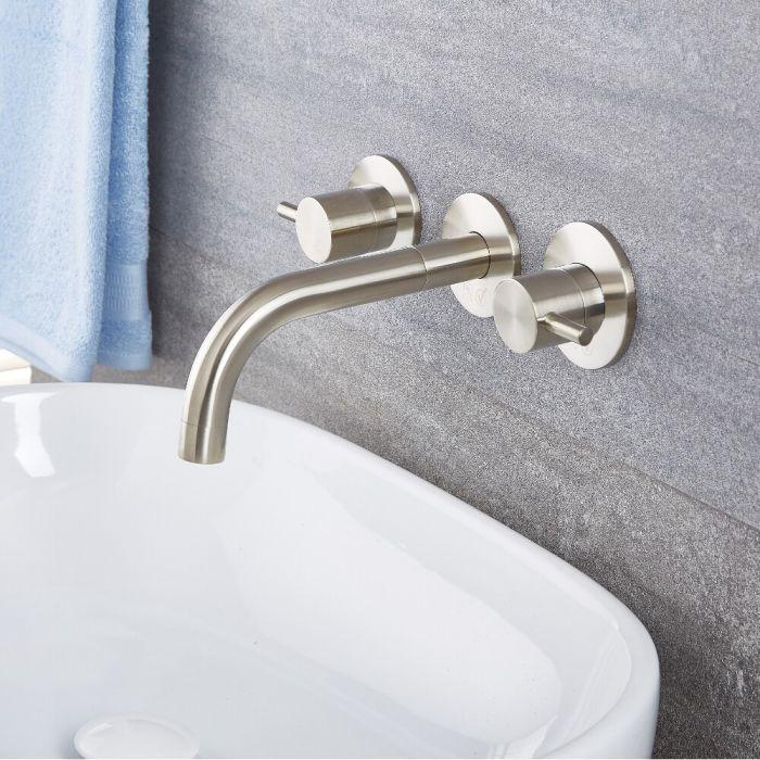 Milano Mirage - Modern Wall Mounted Basin Mixer Tap - Brushed Nickel