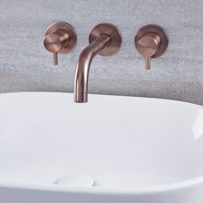 Milano Mirage - Modern Wall Mounted Basin Mixer Tap - Oil Rubbed Bronze