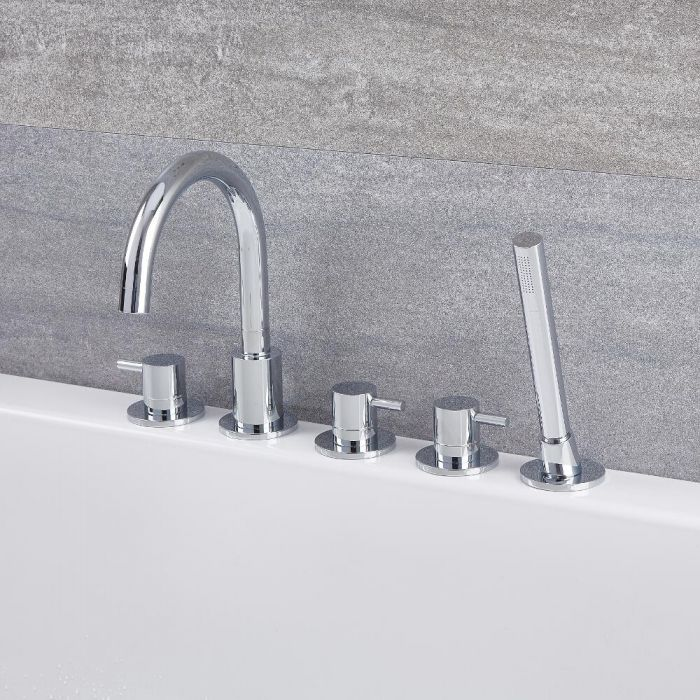 Milano Mirage - Modern Deck Mounted 5 Tap-Hole Bath Shower Mixer Tap with Hand Shower - Chrome
