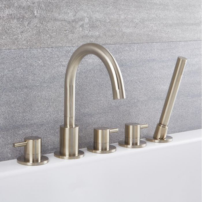 Milano Mirage - Modern Deck Mounted 5 Tap-Hole Bath Shower Mixer Tap with Hand Shower - Brushed Nickel