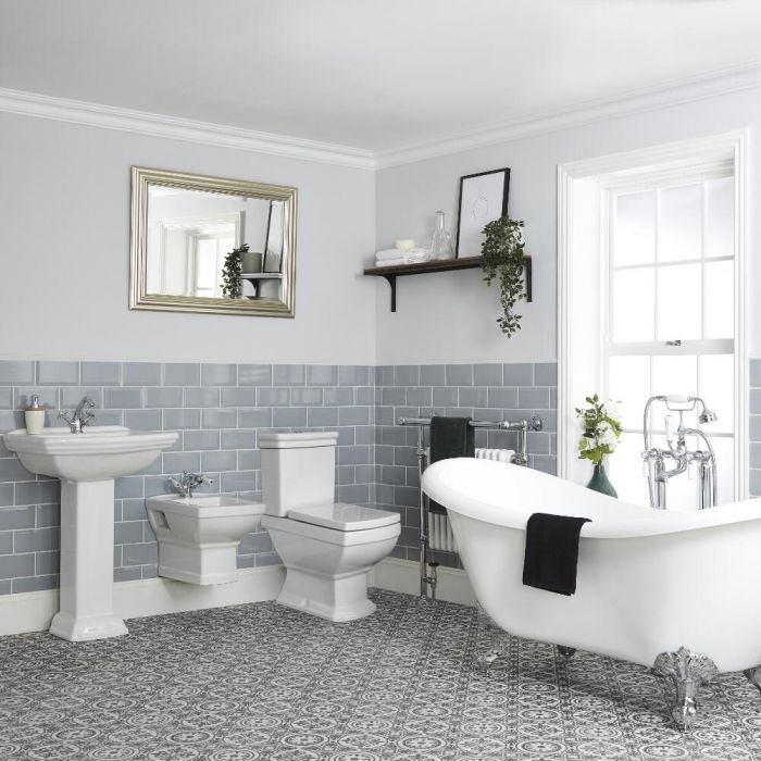 Milano Sandringham - Freestanding Slipper Bath, Traditional Toilet and Wall Hung Bidet Suite with Choice of Basin