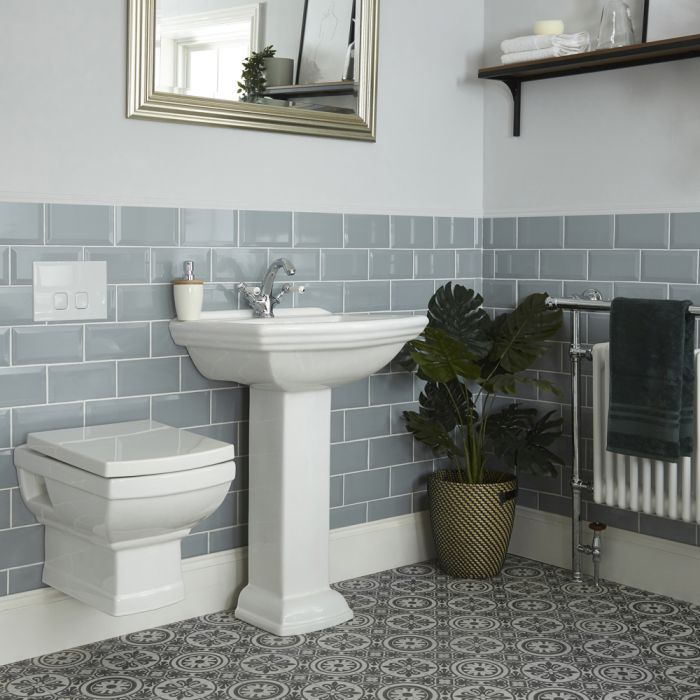 Milano Sandringham - Traditional Wall Hung Toilet and Pedestal Basin Set