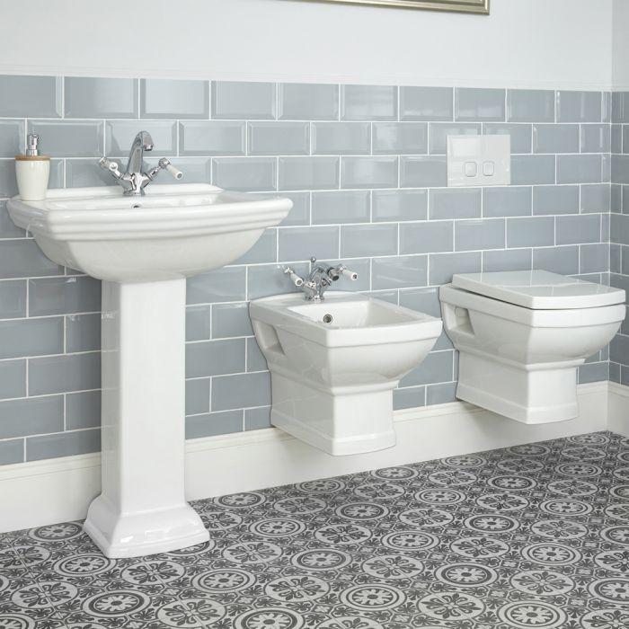 Milano Sandringham - Traditional Wall Hung Toilet, Bidet and Pedestal Basin Set