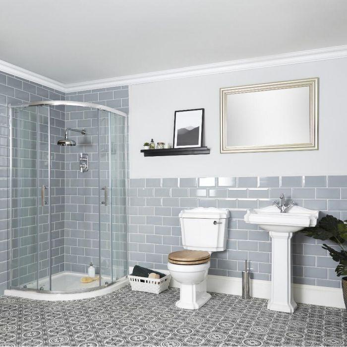 Milano Legend - Shower Suite with Quadrant Enclosure, Toilet and Pedestal Basin