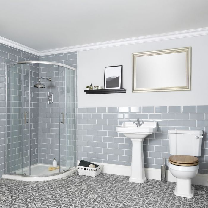 Milano Richmond - Traditional Shower Suite with Quadrant Enclosure, Close Coupled Toilet and Pedestal Basin
