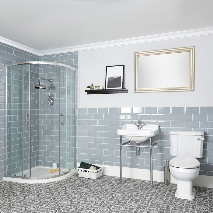 Milano Richmond - Traditional Shower Suite with Quadrant Enclosure, Close Coupled Toilet and Washstand Basin