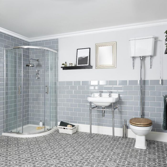 Milano Richmond - Shower Suite with Quadrant Enclosure, High Level Toilet and Washstand Basin