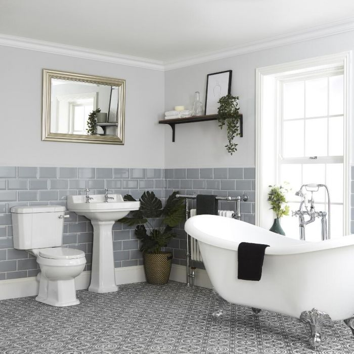 Milano Richmond - Traditional Bathroom Suite with Freestanding Bath, Toilet and Pedestal Basin