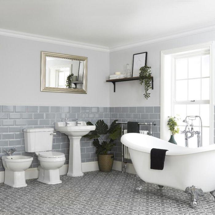 Milano Richmond - Traditional Bathroom Suite with Freestanding Bath, Toilet, Pedestal Basin and Bidet