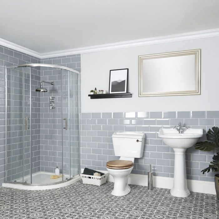 Milano Towneley - Traditional Shower Suite with Quadrant Enclosure, Close Coupled Toilet and Pedestal Basin