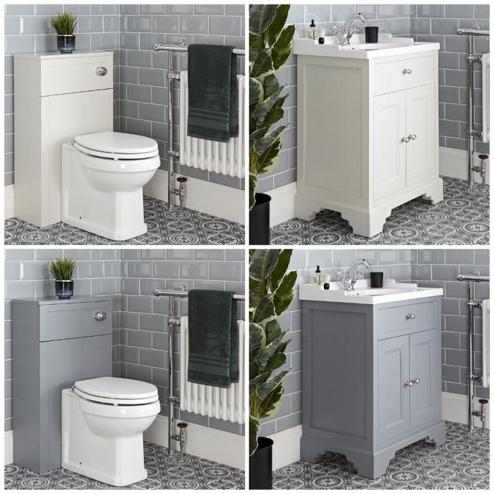 Milano Thornton - 630mm Traditional Vanity Unit and Back to Wall Toilet Set