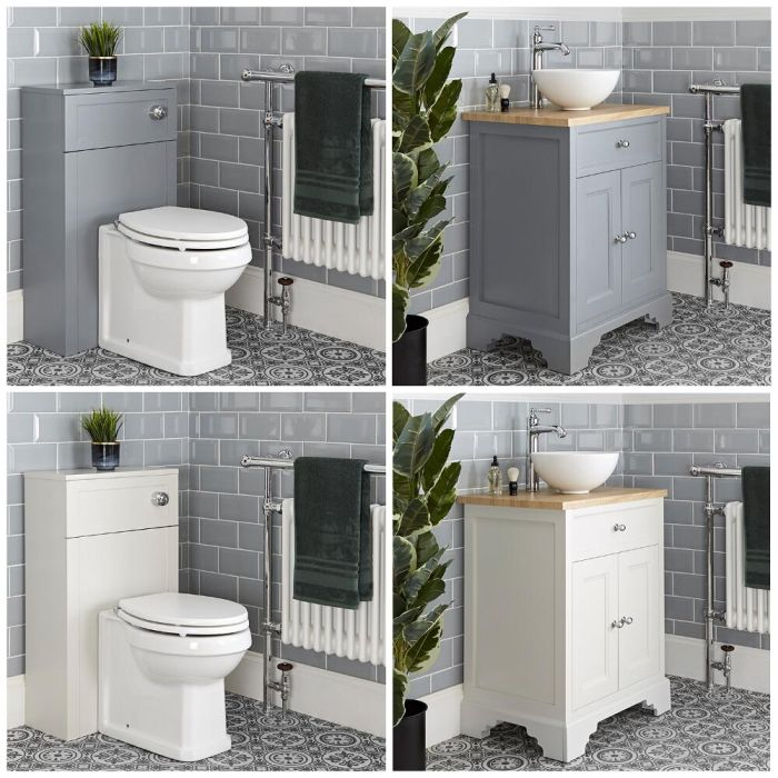 Milano Thornton - 645mm Traditional Vanity Unit with Countertop Basin and Back to Wall Toilet Set