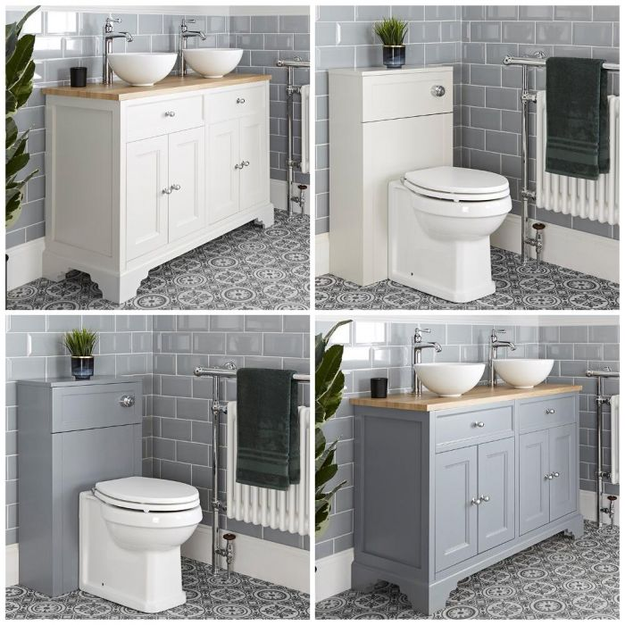 Milano Thornton - 1200mm Traditional Vanity Unit with Countertop Basins and Back to Wall Toilet Set