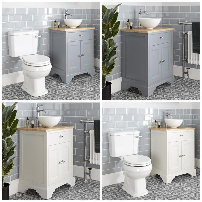 Milano Thornton - 645mm Traditional Vanity Unit with Countertop Basin and Close Coupled Toilet Set