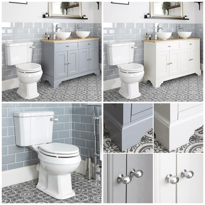 Milano Thornton - 1200mm Traditional Vanity Unit with Countertop Basins and Close Coupled Toilet Set