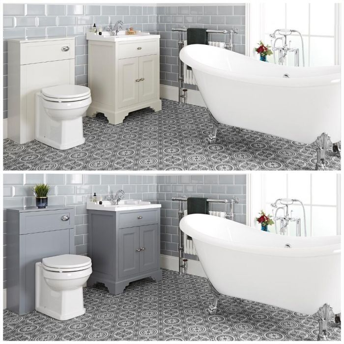 Milano Thornton - Traditional Bathroom Suite with Freestanding Bath, 630mm Vanity Unit and Back to Wall Toilet