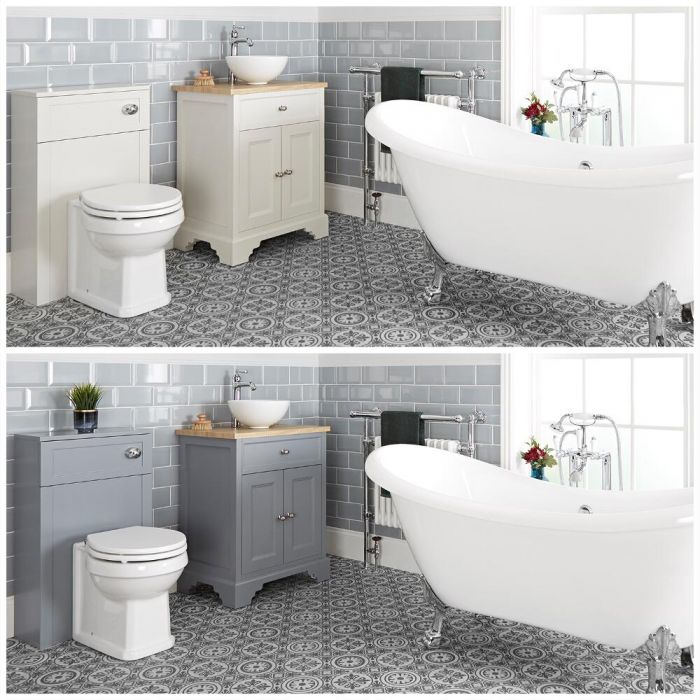 Milano Thornton - Traditional Bathroom Suite with Freestanding Bath, 645mm Vanity Unit with Countertop Basin and Back to Wall Toilet