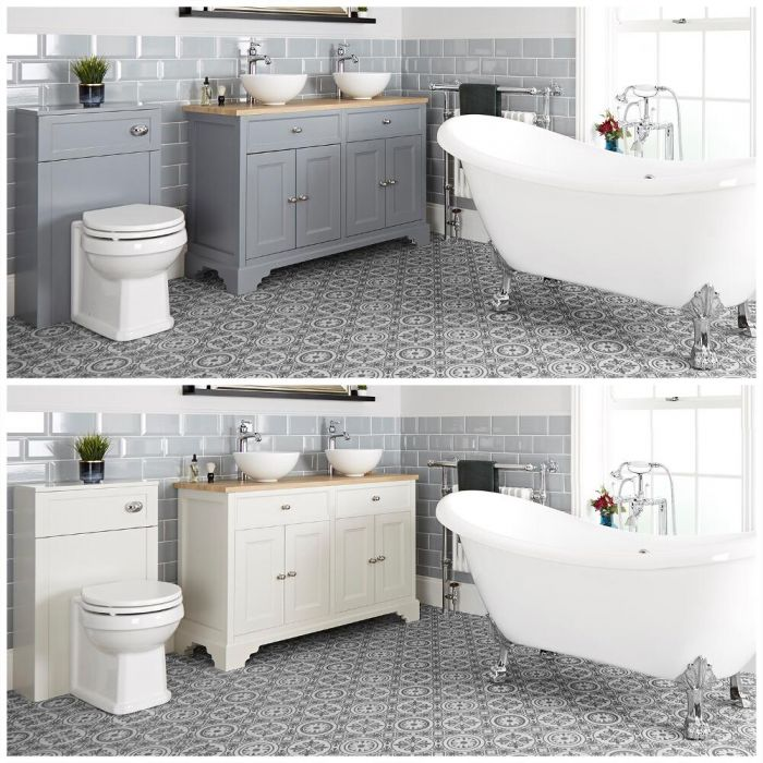 Milano Thornton - Traditional Bathroom Suite with Freestanding Bath, 1200mm Vanity Unit with Countertop Basins and Back to Wall Toilet