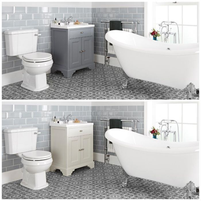 Milano Thornton - Traditional Bathroom Suite with Freestanding Bath, 630mm Vanity Unit and Close Coupled Toilet