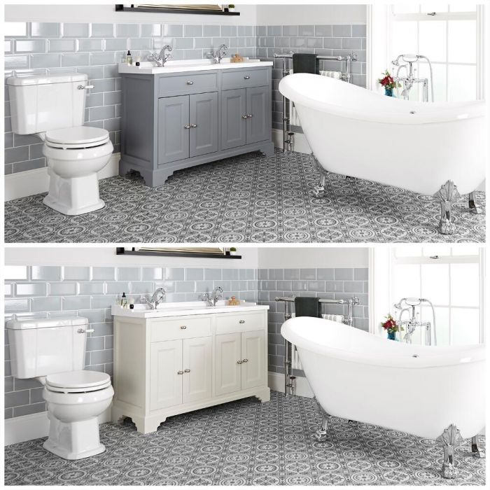Milano Thornton - Traditional Bathroom Suite with Freestanding Bath, 1200mm Vanity Unit and Close Coupled Toilet