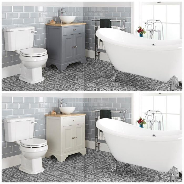 Milano Thornton - Traditional Bathroom Suite with Freestanding Bath, 645mm Vanity Unit with Countertop Basin and Close Coupled Toilet