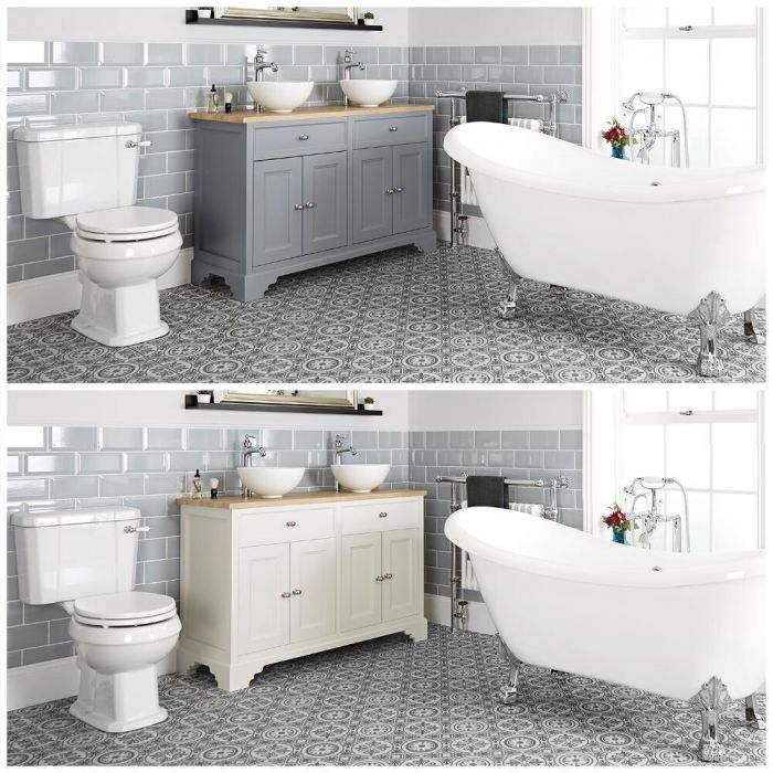 Milano Thornton - Traditional Bathroom Suite with Freestanding Bath, 1200mm Vanity Unit with Countertop Basins and Close Coupled Toilet