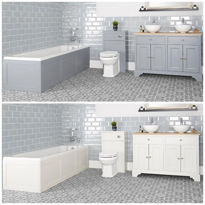 Milano Thornton - Traditional Bathroom Suite with Bath, 1200mm Vanity Unit with Countertop Basins and Back to Wall Toilet