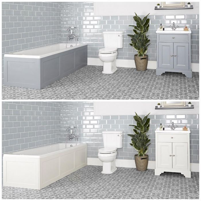 Milano Thornton - Traditional Bathroom Suite with Bath, 630mm Vanity Unit and Close Coupled Toilet