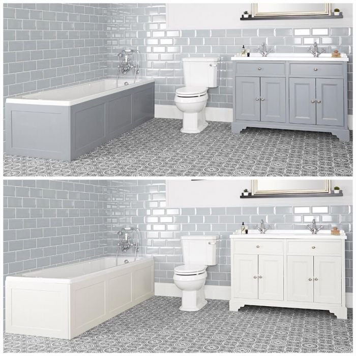 Milano Thornton - Traditional Bathroom Suite with Bath, 1200mm Vanity Unit and Close Coupled Toilet