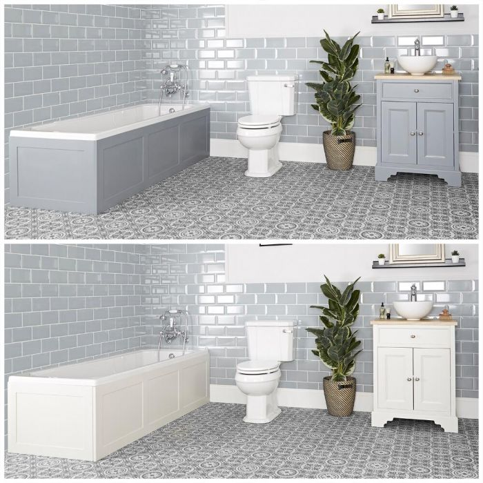 Milano Thornton - Traditional Bathroom Suite with Bath, 645mm Vanity Unit with Countertop Basin and Close Coupled Toilet