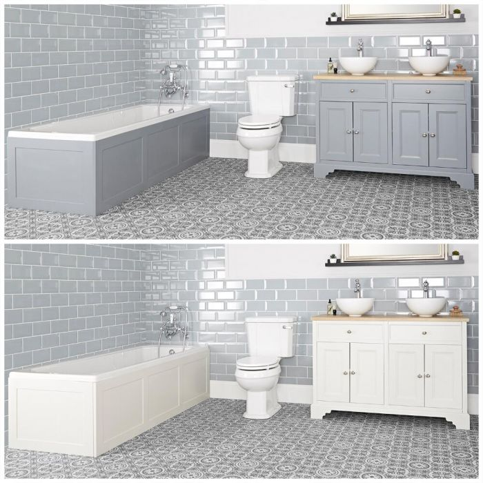 Milano Thornton - Traditional Bathroom Suite with Bath, 1200mm Vanity Unit with Countertop Basins and Close Coupled Toilet