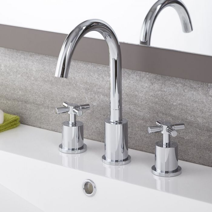Milano Tec - Modern 3 Tap-Hole Basin Mixer Tap - Chrome