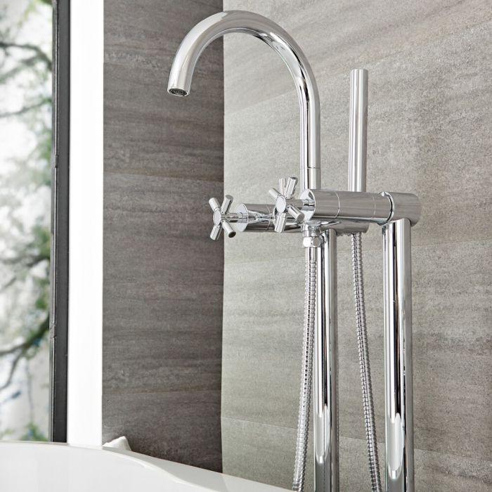 Milano Tec - Modern Freestanding Bath Shower Mixer Tap with Hand Shower - Chrome